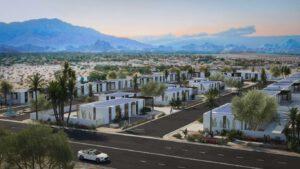 Eine ganze Wohnsiedlung aus dem 3D-Drucker entsteht in Kalifornien. Visualisierung: Mighty Buildings/EYRC Architects