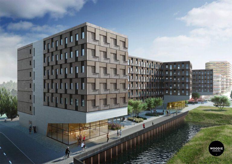 Woodie Studentenwohnheim in Hamburg, Visualisierung: beyond visual arts GmbH, Quelle: Stadt Hamburg