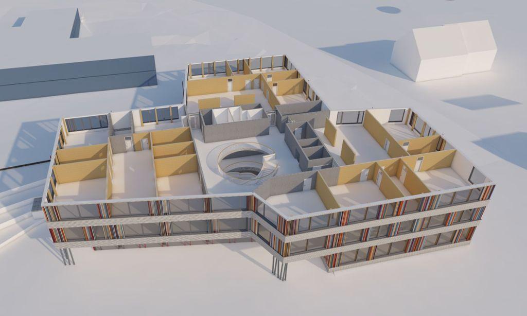 Die Schnittperspektive des Blumberger Schulcampus zeigt das Baumaterial: Braune Bereiche sind aus Holz, graue aus Beton. Grafik: Spieker Sautter Lauer Architekten