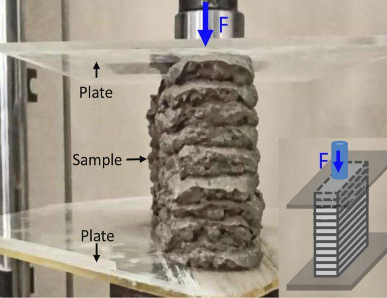 Die stärkste Formulierung der Forscher hielt einer Belastung von 91 N stand. Foto: © Journal Cement and Concrete Composites
