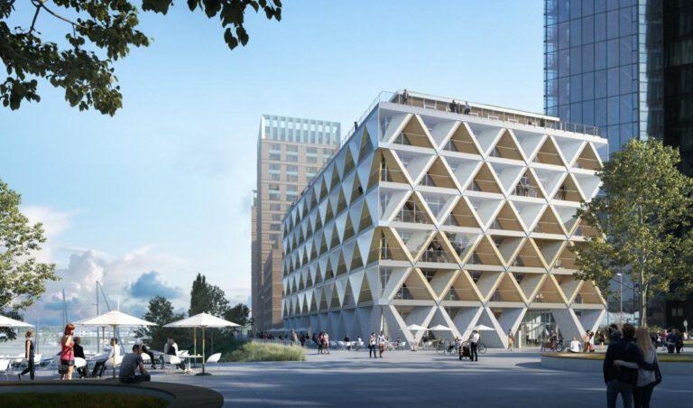 """Außenansicht Bürogebäude """"The Cradle"""" (Visualisierung: INTERBODEN / HPP Architekten)"""