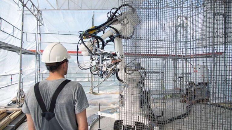An der ETH unterstützt ABB die Forschung im Bereich der robotergestützten Fertigung in der Architektur und im Bauwesen. Quelle: ABB Robotics; Foto: Gramazio Kohler Research, ETH Zürich