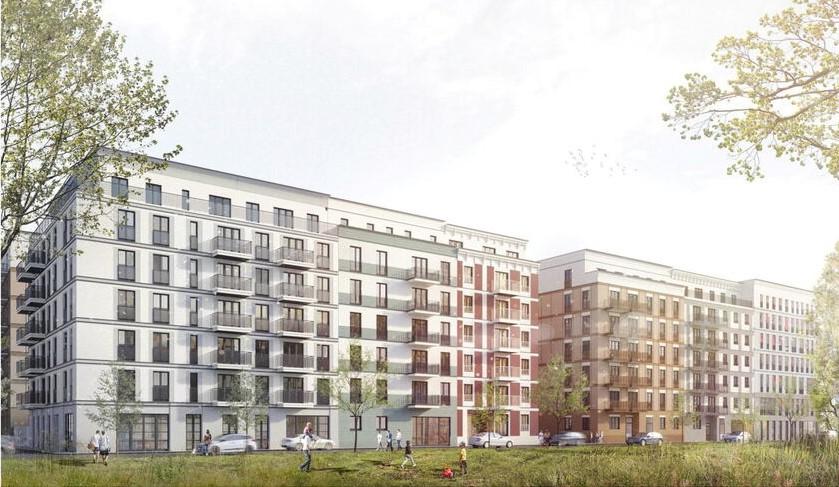 Entwürfe für die Dresdner Lingnerstadt, Straßenperspektive. Quelle: Gateway Real Estate AG