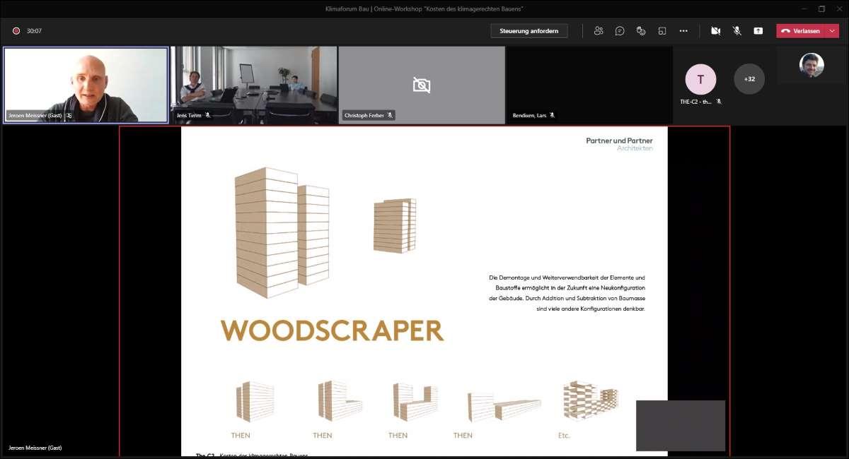 Jeroen Meissner erläutert die Modularität und flexible Nutzung des Woodscrapers. Präsentation: © Meissner/Partner und Partner Architekten, Screenshot: © KlimaForum Bau
