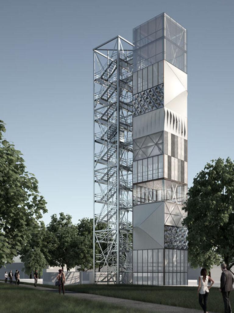 Die adaptiven Tragwerkselemente werden zurzeit in einem Demonstrationsgebäude in der Praxis erforscht. Das ca. 37 Meter hohe adaptive Hochhaus steht auf dem Campus der Universität Stuttgart. Grafik: ISYS + IKTD, Uni Stuttgart