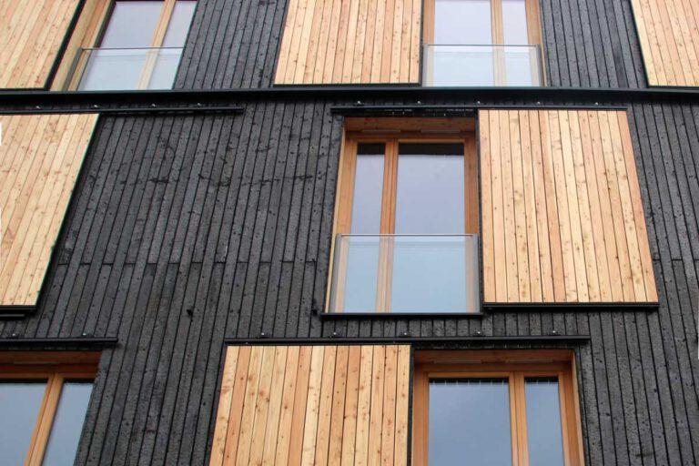 Die Yakisugi-Fassade ist optisch ansprechend, erfüllt aber auch wichtige Funktionen. (Foto: BaySF)