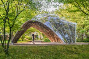 livMats Pavillon: Außenansicht. Foto: IntCDC, Universität Stuttgart / Robert Faulkner