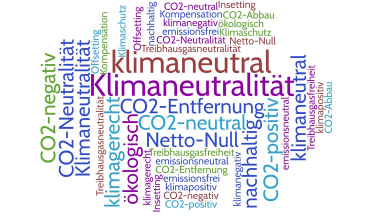 CO₂-washing: Eine verwirrende Terminologie und fehlende offizielle Definitionen machen es Unternehmen einfach, sich mit fragwürdigen Behauptungen zu schmücken. Grafik © Klimaforum Bau