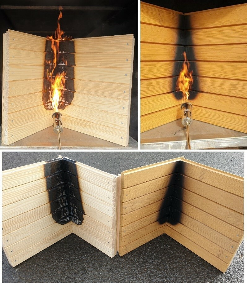 Fassadenelement (Eckverbindung) unter Beflammung – behandeltes Holz, Foto: Lukas Emmerich